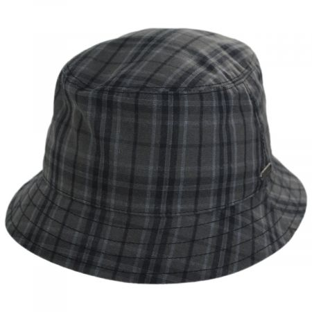 Wigens Caps British Millerain Waxed Plaid Cotton Rain Bucket Hat