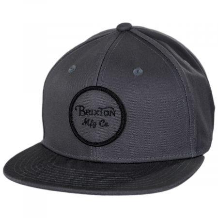 Brixton Hats Wheeler Charcoal Cotton Snapback Baseball Cap