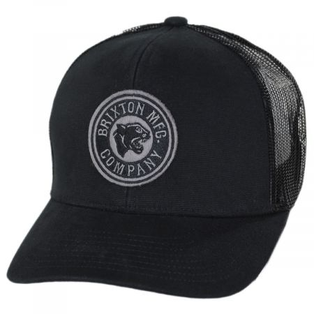 Brixton Hats Forte Mid Pro Black Cotton Blend Trucker Snapback Baseball Cap