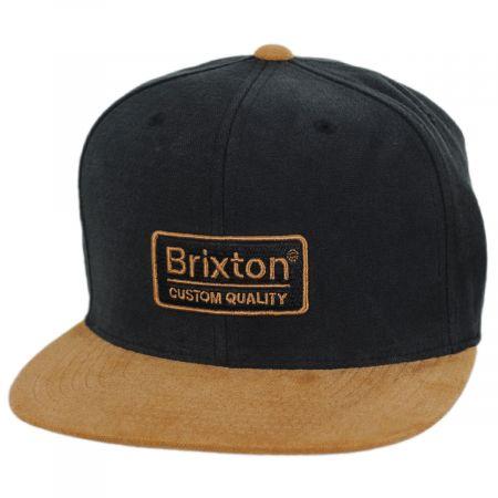 Brixton Hats Palmer Black/Whiskey Cotton Snapback Baseball Cap