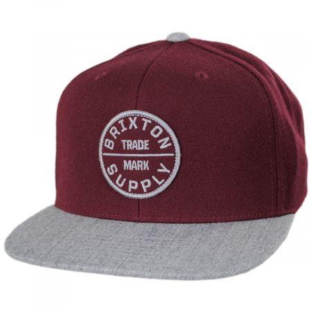 Brixton Hats Oath III Red/Gray Wool Blend Snapback Baseball Cap