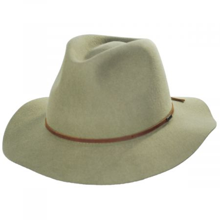 Wesley Dark Khaki Wool Felt Fedora Hat