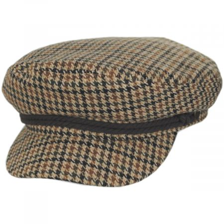Houndstooth Tweed Wool Blend Fiddler's Cap