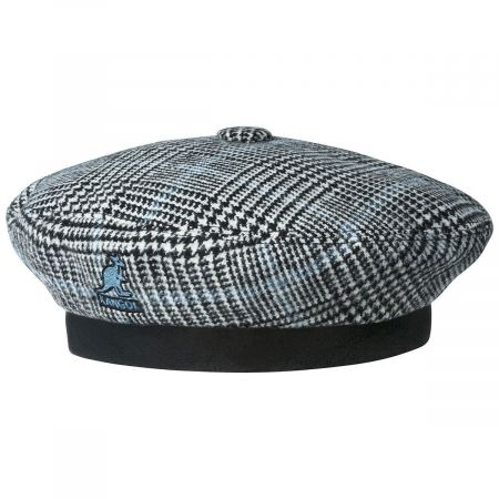 Show Your Teeth Black/Blue Wool Blend Beret