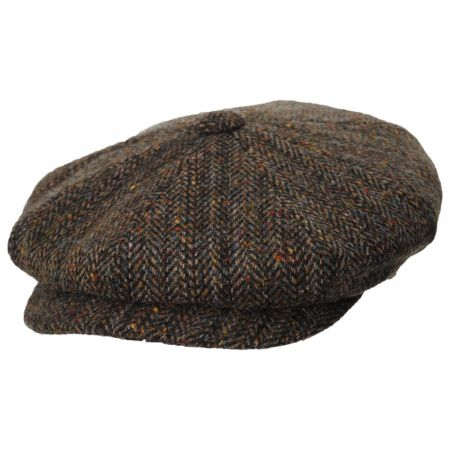 Donegal Remix Herringbone Tweed Wool Newsboy Cap