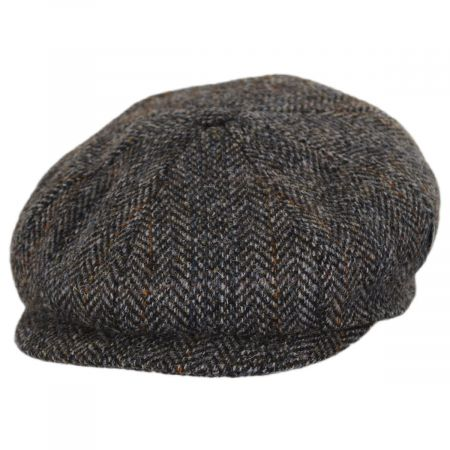 City Sport Caps Overcheck Herringbone Harris Tweed Wool Newsboy Cap