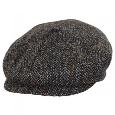 City Sport Caps Overcheck Herringbone Harris Tweed Wool Newsboy Cap