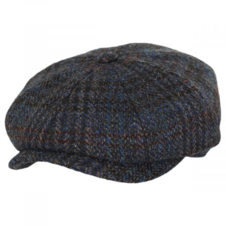 Stetson Hatteras Plaid Harris Tweed Wool Newsboy Cap