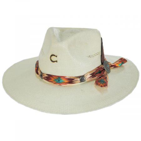 Tribal Shantung Straw Fedora Hat