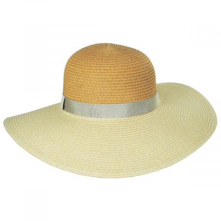 Toucan Collection Two-Tone Toyo Straw Floppy Brim Sun Hat