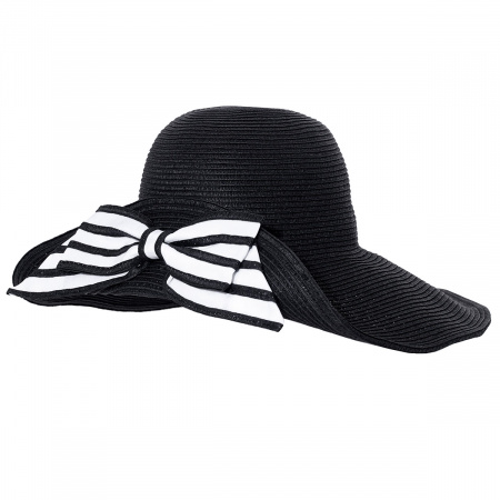 Striped Bow Off Face Toyo Straw Sun Hat