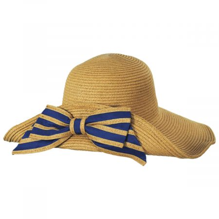 Toucan Collection Striped Bow Off Face Toyo Straw Sun Hat