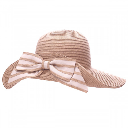 Striped Bow Off Face Toyo Straw Sun Hat alternate view 6