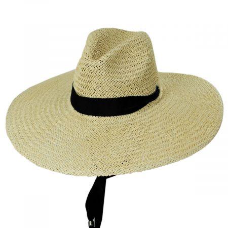 Marina Toyo Straw Wide Brim Fedora Hat