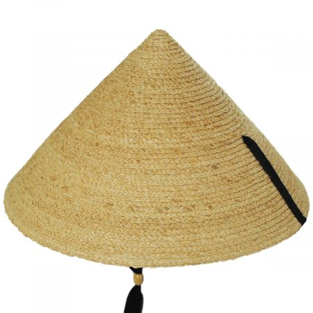 Braided Raffia Straw Pyramid Sun Hat