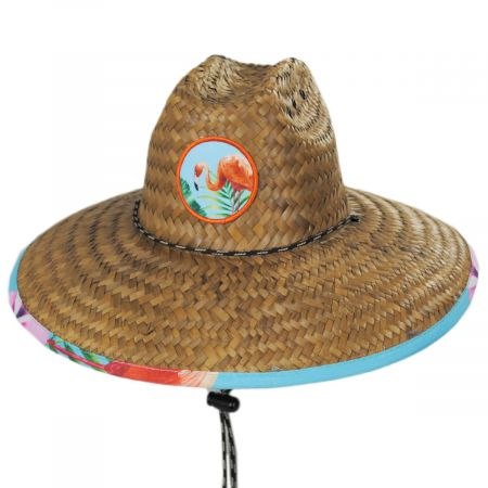 Flamingo 2 Coconut Straw Lifeguard Hat