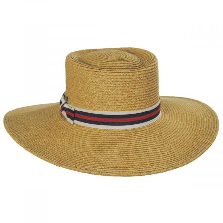 Scala Diego Striped Band Toyo Straw Blend Boater Hat