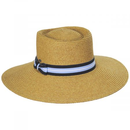 Diego Striped Band Toyo Straw Blend Boater Hat