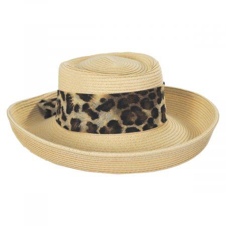 Movone Leopard Scarf Toyo Straw Blend Gambler Hat