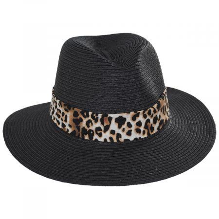 Gabon Leopard Scarf Toyo Straw Fedora Hat
