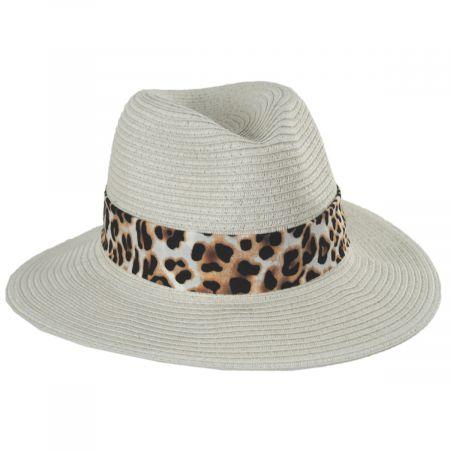 Gabon Leopard Scarf Toyo Straw Fedora Hat alternate view 5