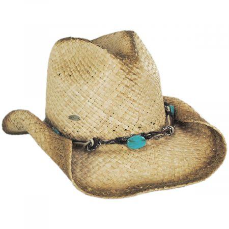 Scala Lamone Raffia Straw Western Hat