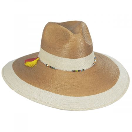 Elgans Two-Tone Palm Straw Fedora Hat