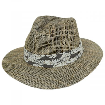 Scala Quest Seagrass Straw Safari Fedora Hat
