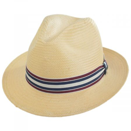 Scala Capital Striped Band Toyo Straw Fedora Hat