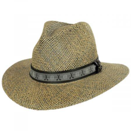 Scala Echols Clubs Toyo Straw Safari Fedora Hat