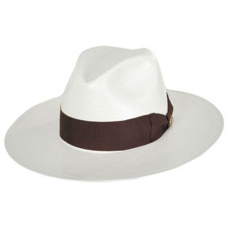 Senna Wide Brim Shantung Straw Fedora Hat