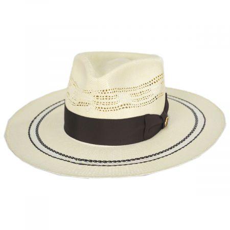 Chiron Wide Brim Bangora Straw Fedora Hat