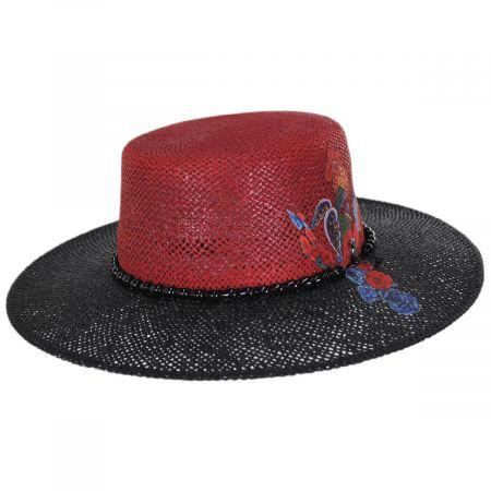 Reve 2-Tone Toyo Straw Boater Hat