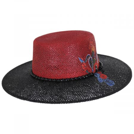 Carlos Santana Reve 2-Tone Toyo Straw Boater Hat
