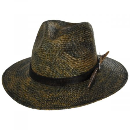 Carlos Santana Vagabond Distressed Panama Straw Safari Fedora Hat