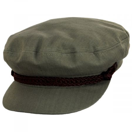 Braided Band Olive Green Cotton Fiddler Cap