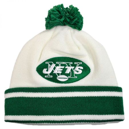 Mitchell & Ness New York Jets NFL Cuffed Knit Beanie Hat w/ Pom