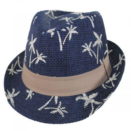 Toddlers' Palm Tree Toyo Straw Fedora Hat
