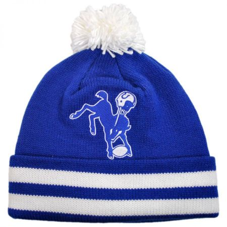 Mitchell & Ness Indianapolis Colts NFL Cuffed Knit Beanie Hat w/ Pom