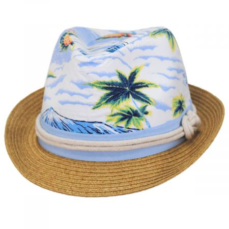 San Diego Hat Company Toddlers' Tropical Crown Cotton Toyo Straw Blend Fedora Hat