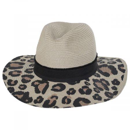 San Diego Hat Company Animal Print Brim Toyo Straw Blend Fedora Hat