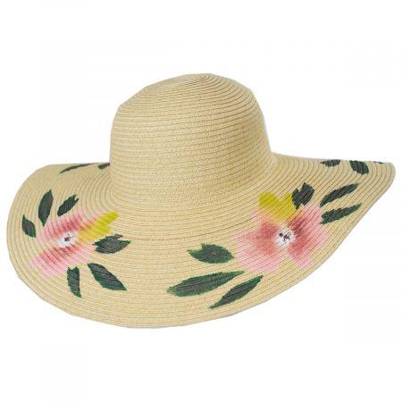 Handpainted Floral Brim Toyo Straw Floppy Sun Hat