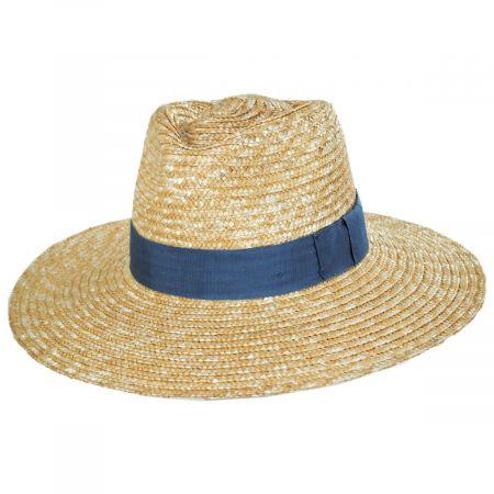 Joanna Tan/Blue Wheat Straw Fedora Hat