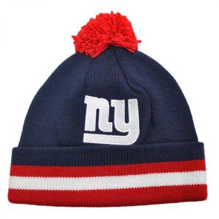 Mitchell & Ness New York Giants NFL Cuffed Knit Beanie Hat w/ Pom