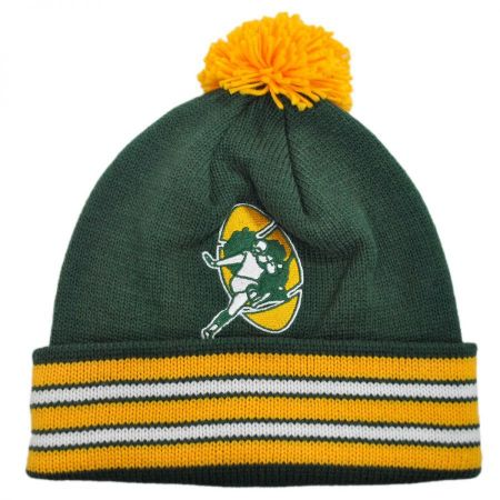 Mitchell & Ness Green Bay Packers NFL Cuffed Knit Beanie Hat w/ Pom