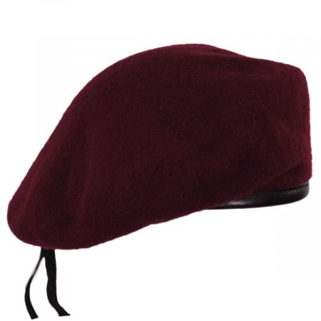 Wool Military Beret with Lambskin Band