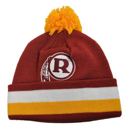 Mitchell & Ness Washington Redskins NFL Cuffed Knit Beanie Hat w/ Pom