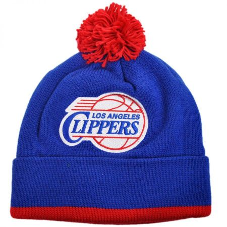 Mitchell & Ness Los Angeles Clippers NBA Cuffed Knit Beanie Hat w/ Pom