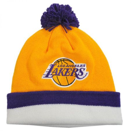 Mitchell & Ness Los Angeles Lakers NBA Cuffed Knit Beanie w/ Pom