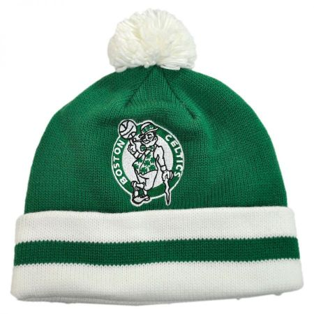 Mitchell & Ness Boston Celtics NBA Cuffed Knit Beanie Hat w/ Pom
